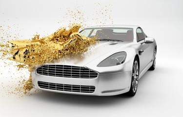 Goldene Farbe wird über ein Auto geschüttet