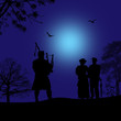 Bagpiper silhouette and couple