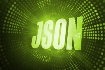 Json against green pixel spiral