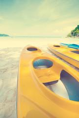 kayak on a beach, retro vintage effect