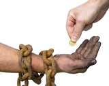 Hand giving a coin to another chained hand