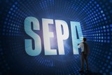Sepa against futuristic dotted blue and black background