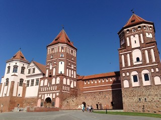 facade of medieval castle in belarus