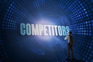Competitors against futuristic dotted blue and black background