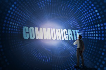 Communicate against futuristic dotted blue and black background