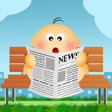 child reads news