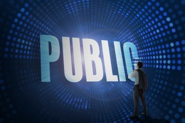 Public against futuristic dotted blue and black background