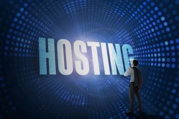 Hosting against futuristic dotted blue and black background