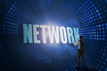 Network against futuristic dotted blue and black background