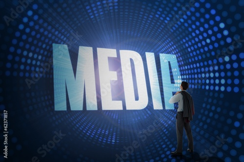 Media against futuristic dotted blue and black background