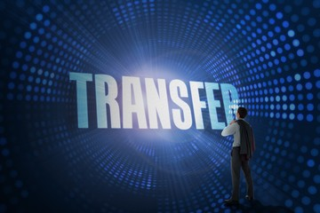 Transfer against futuristic dotted blue and black background