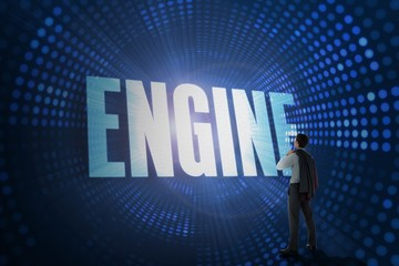 Engine against futuristic dotted blue and black background