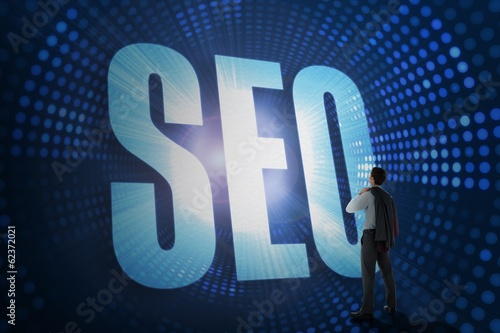 Seo against futuristic dotted blue and black background