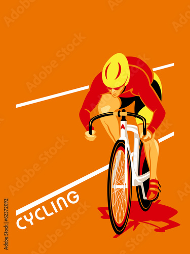 Poster with a track cyclist at the competition