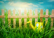 Wooden fence on blue sky background