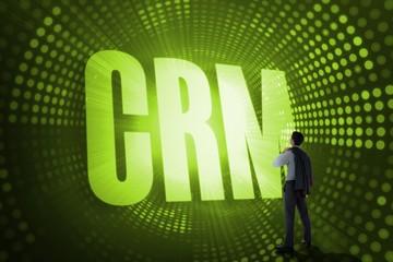 Crm against green pixel spiral