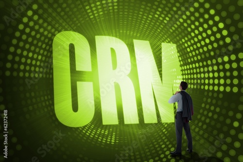Crm against green pixel spiral