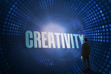 Creativity against futuristic dotted blue and black background