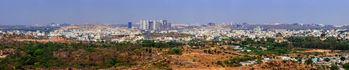 Hyderabad city panorama skyline, India