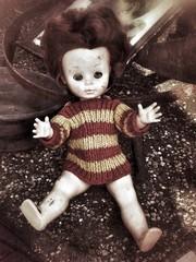Alte defekte Nostalgie Puppe