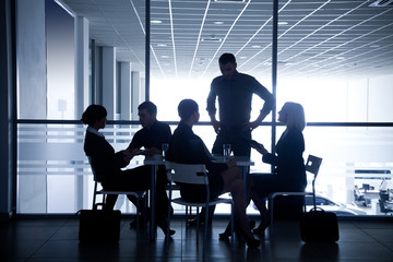 silhouettes of businesspeople