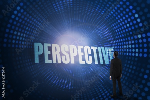 Perspective against futuristic dotted blue and black background