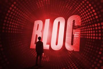 Blog against red pixel spiral
