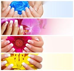 Farbige Kollage mit bunten Blumen und Händen