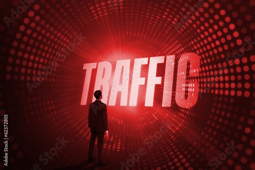 Traffic against red pixel spiral