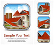 Square icon set with red tile roof, vector illustration