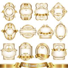 White gold-framed labels set 5