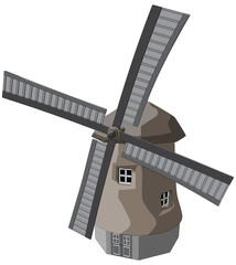 Windmill -  Vector Artwork (isolated on white background).