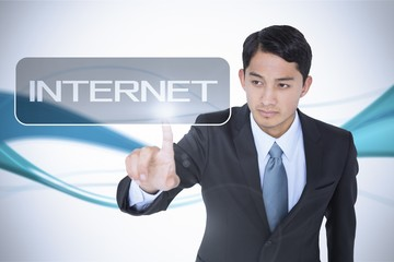 Internet against abstract blue line son white background