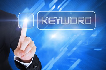 Businesswomans finger touching Keyword button