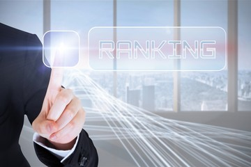 Businesswomans finger touching Ranking button