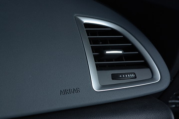 Ventilation in leather car panel with airbag