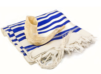 Rosh Hashanah holiday shofar,tallit.Isolated on white.