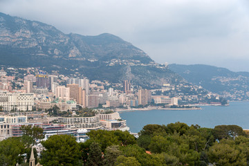 View of Ligurian Alps in Monaco