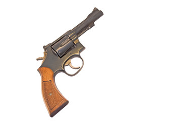 Classic six shooter,wood grip,isolated on white
