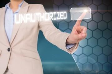 Businesswomans finger touching unauthorizec button