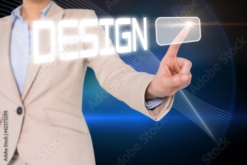 Businesswomans finger touching cesign button