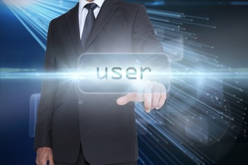 User against abstract technology background