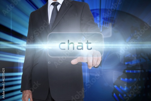 Chat against digital earth background
