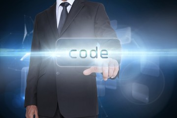 Code against glowing technological background