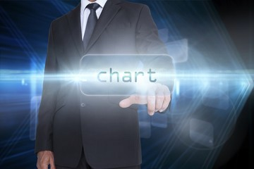 Chart against shiny arrow lines on black background
