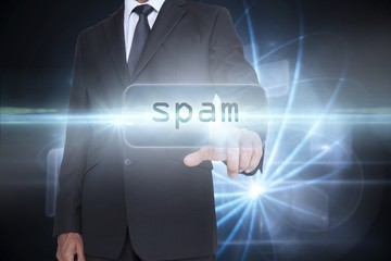 Spam against shiny sphere on black background