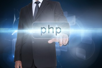 Php against glowing technological background