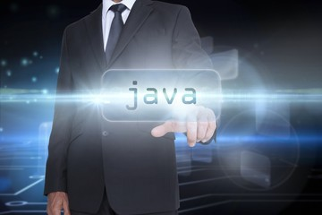 Java against circuit board on futuristic background