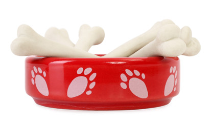 Dog food bowl with bones