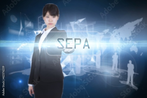 Sepa against glowing technological background